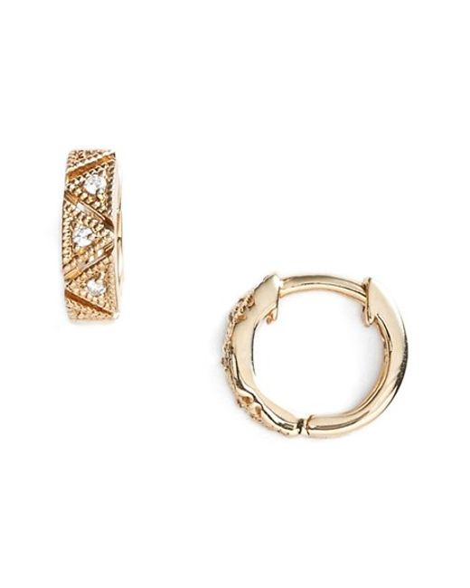 Dana Rebecca | Metallic 'kathryn Lynn' Diamond Hoop Earrings | Lyst