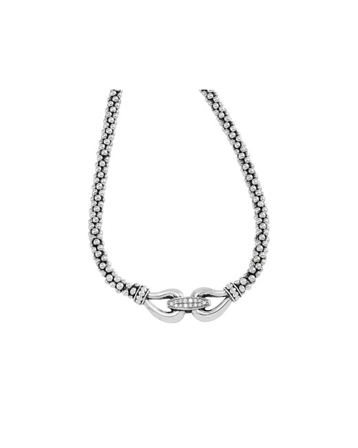Lagos | Metallic Derby Sterling Silver Necklace With Diamonds, 16"