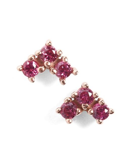 Anna Sheffield | Pink 'bea' Ruby Arrow Stud Earrings | Lyst