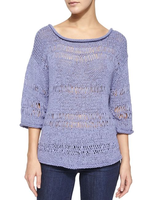 Pure Handknit | Purple 3/4-sleeve Exposed Knit Pullover | Lyst