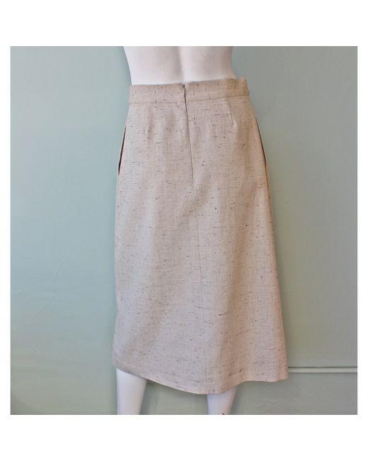 sea denim tweed slit skirt in beige save 71 lyst