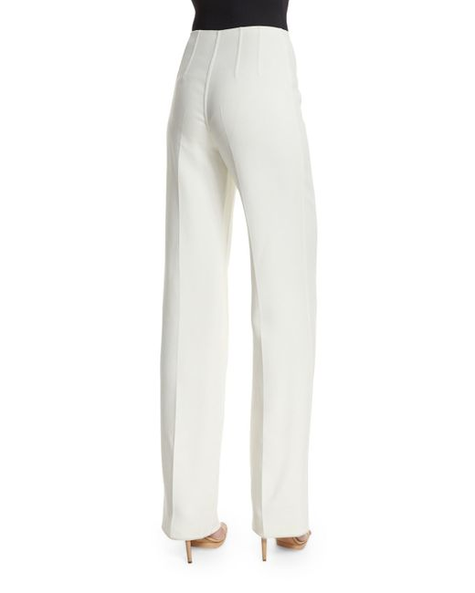 Michael Kors Straight Leg Side Zip Pants In White Save