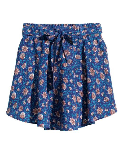 h m patterned skirt in blue lyst
