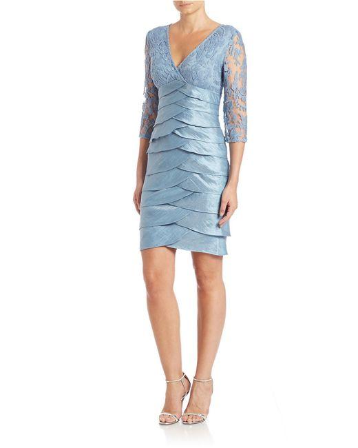 Adrianna Papell | Blue Shimmer Shutter Tuck Lace Sheath Dress | Lyst
