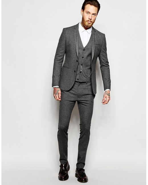 Asos Super Skinny Suit Jacket In Dogstooth in Gray for Men - Save ...
