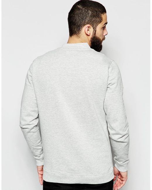 Only & Sons Sweat Bomber Jacket In Gray For Men