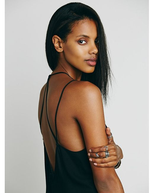 Free People | Black Knotted Tie Up Slip | Lyst
