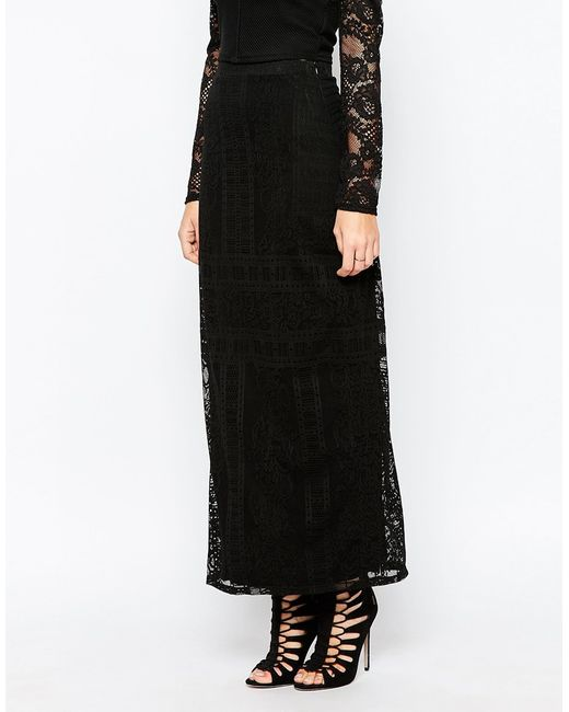 warehouse placed lace maxi skirt in black save 61 lyst