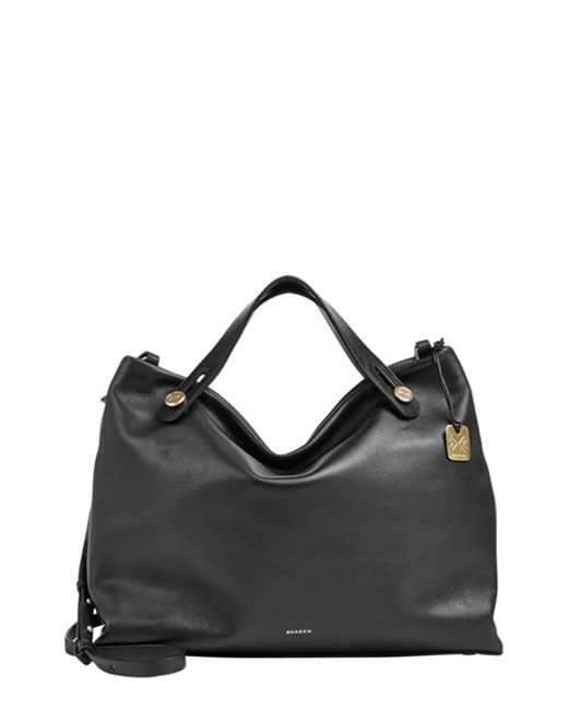 Skagen | Black 'mikkeline' Leather Satchel | Lyst