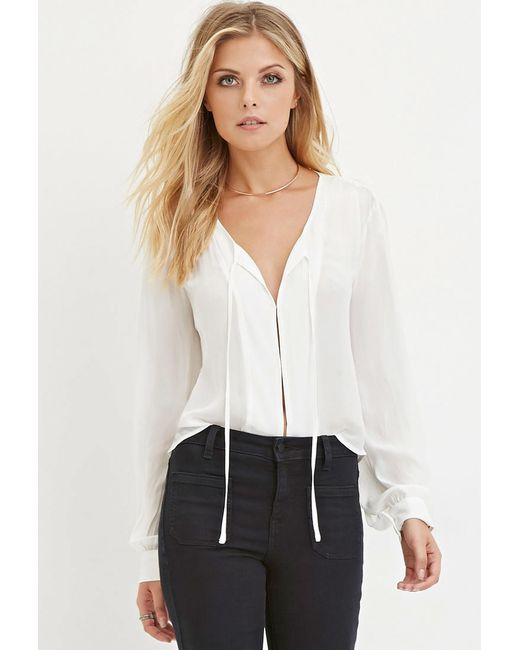 Forever 21 | White Contemporary Self-tie Chiffon Blouse | Lyst