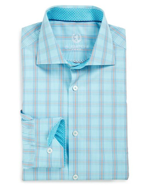 Bugatchi Shaped Fit Plaid Dress Shirt In Teal For Men