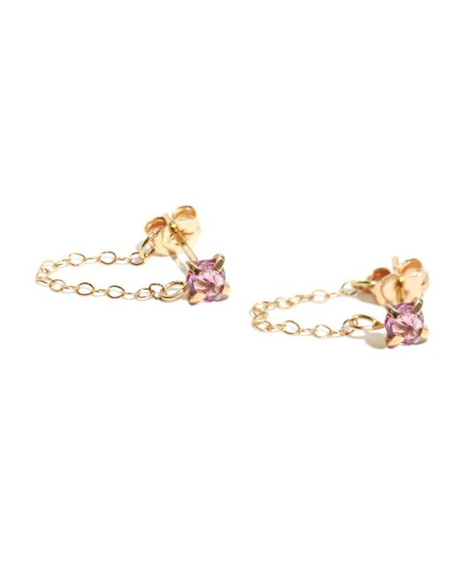 Melissa Joy Manning | Pink Red Garnet Post Earrings With Chain Wrap | Lyst