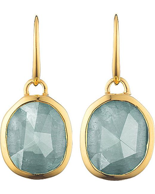 Monica Vinader   Metallic Siren 18ct Gold-plated Wire Earrings With Aquamarine - For Women   Lyst