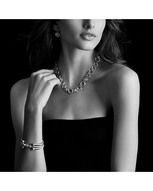 David Yurman   Metallic Cable Classics Bracelet With Garnet, Diamonds And 18k Gold, 5mm   Lyst
