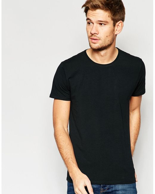 Selected crew neck t shirt in pima cotton in black for men for Pima cotton crew neck t shirt