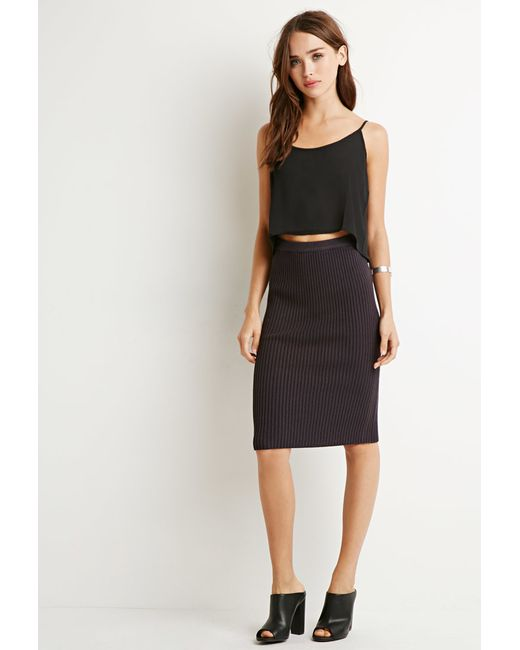 Forever 21 | Black Ribbed Knit Pencil Skirt You've Been Added To The Waitlist | Lyst