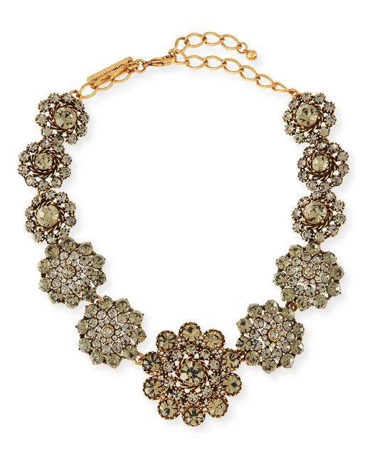 Oscar de la Renta | Metallic Floral Crystal Statement Necklace | Lyst