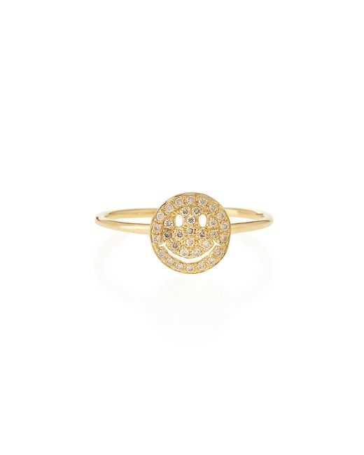 Sydney Evan | Yellow 14k Gold Happy Face Diamond Ring | Lyst