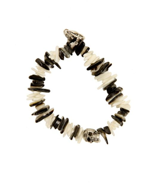 Duchess Of Malfi | Black Lip Shell And White Coral Skull Bracelet | Lyst