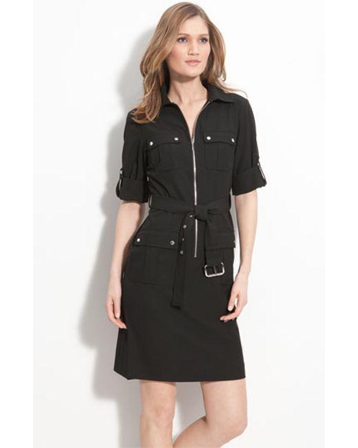 MICHAEL Michael Kors | Black Roll Sleeve Belted Shirtdress | Lyst