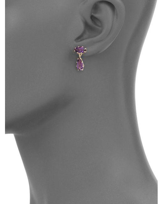 KALAN by Suzanne Kalan | Metallic Papillon Amethyst & 14k Yellow Gold Drop Earrings | Lyst