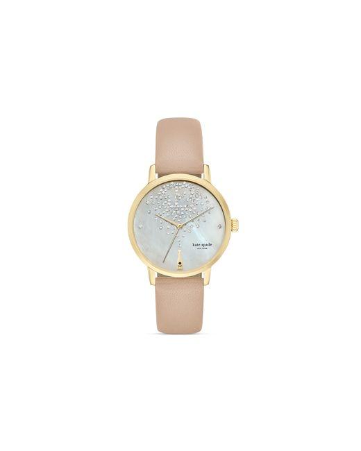 Kate Spade | White Vachetta Champagne Dial Metro Watch, 34mm | Lyst