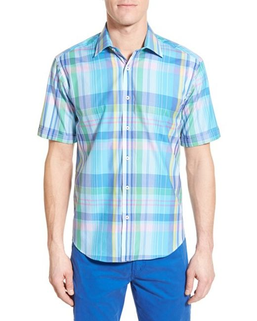 Bugatchi Classic Fit Short Sleeve Plaid Sport Shirt In