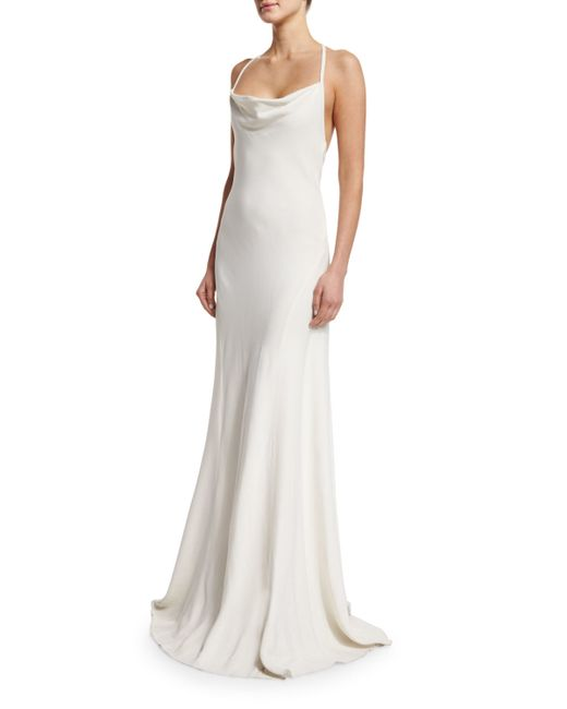 Cowl Neck Back Wedding Dresses: Rachel Zoe Sleeveless Cowl-neck Flower-back Column Gown In