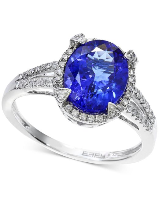 Macy's | Tanzanite (2-5/8 Ct. T.w.) And Diamond (1/4 Ct. T.w.) Ring In 14k White Gold | Lyst
