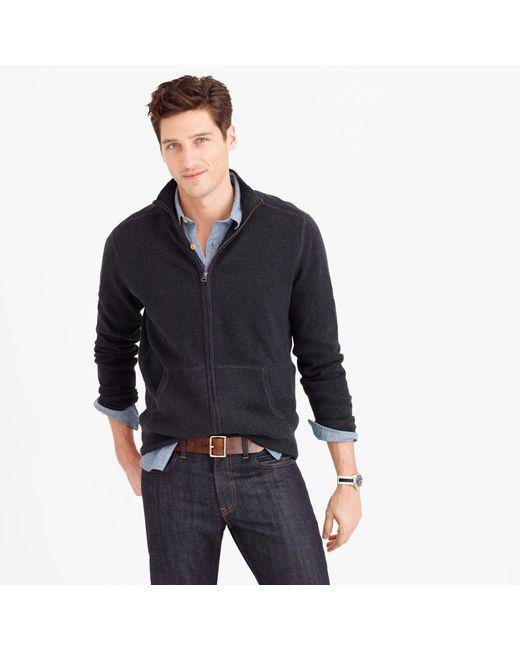 J.Crew | Gray Cotton-cashmere Zip Sweater-jacket for Men | Lyst