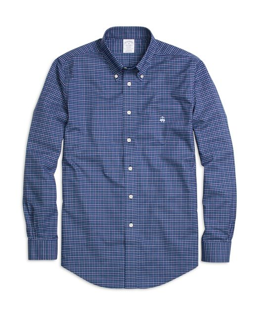 Brooks brothers non iron frame check classic fit dress for Brooks brothers dress shirt fit guide
