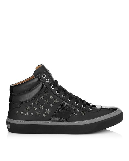 Jimmy Choo | White Belgravia Black Nappa Sneakers With Gunmetal Stars for Men | Lyst