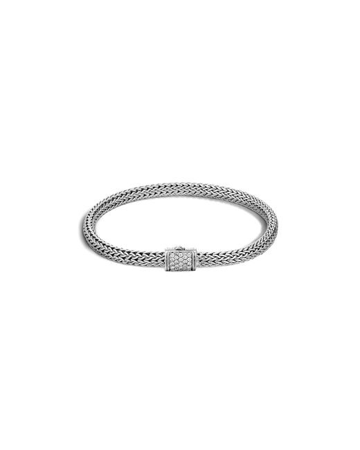 John Hardy | Metallic Classic Chain Sterling Silver Diamond Pave Extra Small Bracelet | Lyst