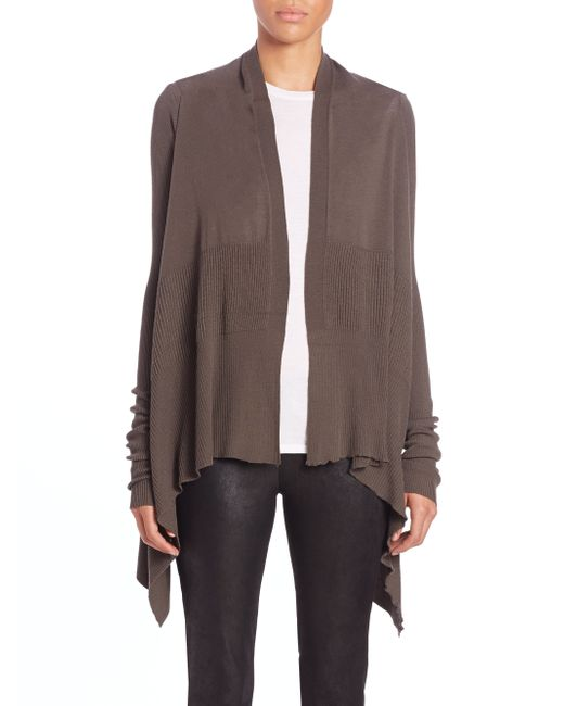 Rick Owens | Brown Asymmetrical Wool Cardigan | Lyst