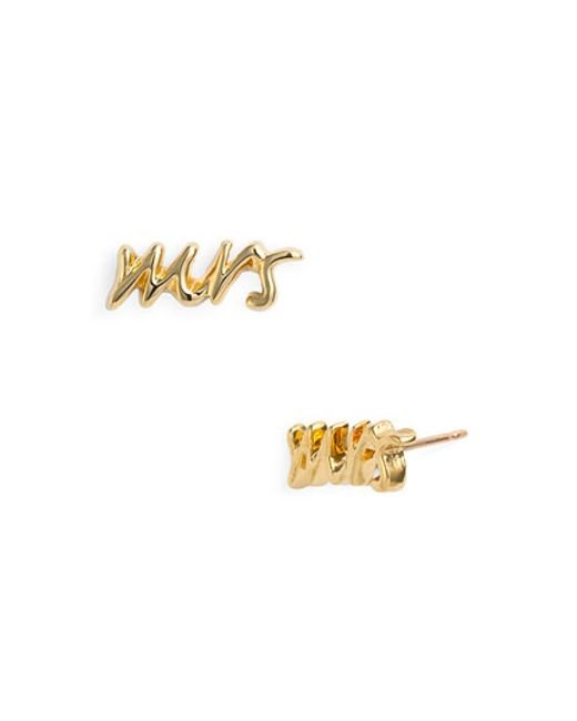 kate spade new york | Metallic 'say Yes - Mrs' Stud Earrings | Lyst