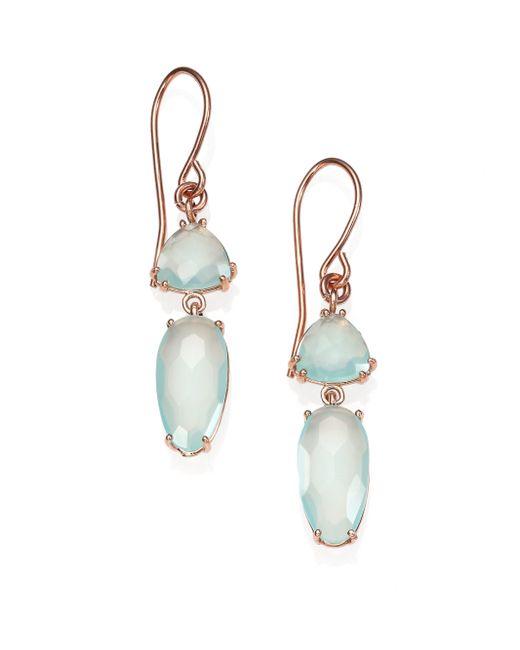 KALAN by Suzanne Kalan   Pink Blue Chalcedony & 14k Rose Gold Double-drop Earrings   Lyst