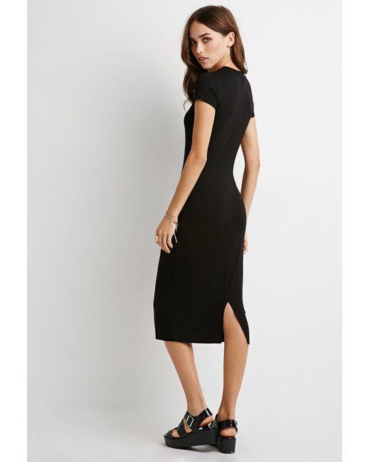 Forever 21   Black Midi T-shirt Dress   Lyst