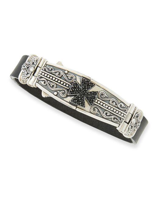 Konstantino | Metallic Men's Leather & Spinel-cross Bracelet for Men | Lyst