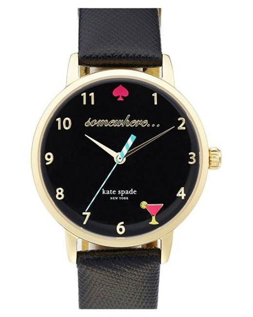kate spade new york | Black 'metro - Somewhere' Leather Strap Watch | Lyst