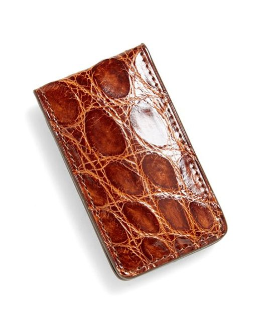 Boconi | Brown Crocodile Magnetic Money Clip for Men | Lyst