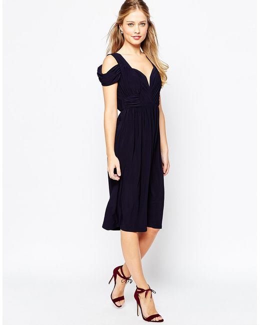 Asos Wedding Drape Cold Shoulder Midi Dress In Blue Navy