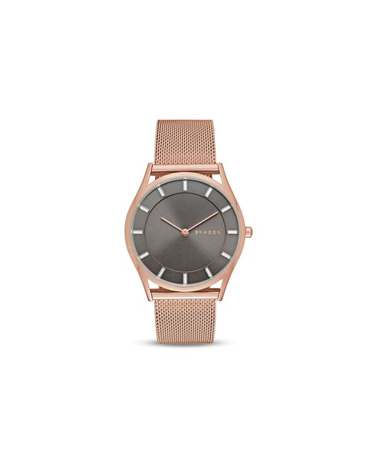 Skagen | Pink Women's Holst Rose Gold-tone Stainless Steel Mesh Bracelet Watch 34mm Skw2378 | Lyst