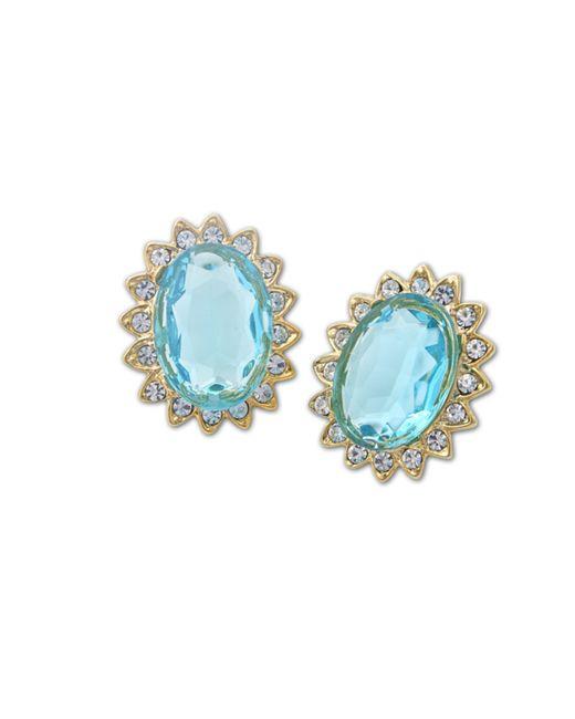 Kenneth Jay Lane | Blue Aquamarine Stone Clip Earring | Lyst