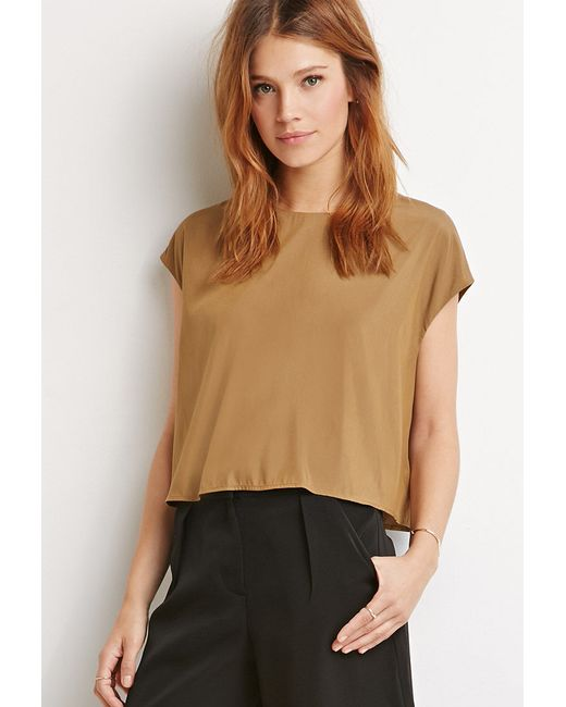Forever 21 | Natural Contemporary Boxy Cap-sleeved Top | Lyst