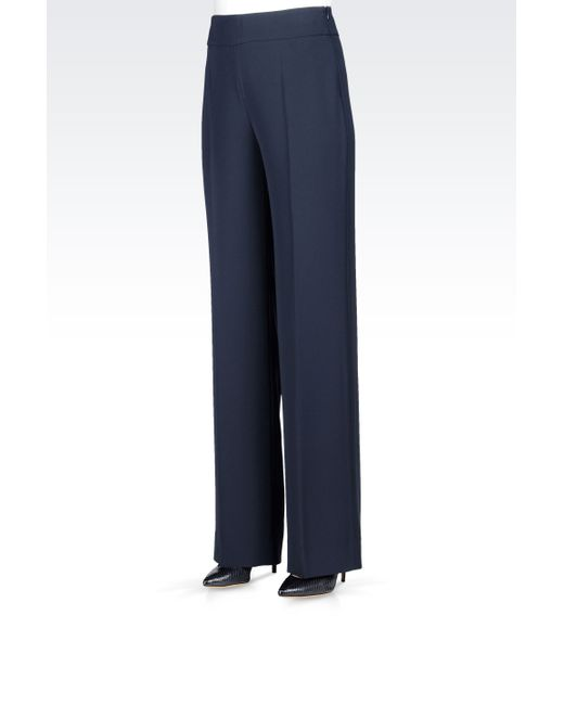 Armani   Gray Palazzo Pants In Cady   Lyst
