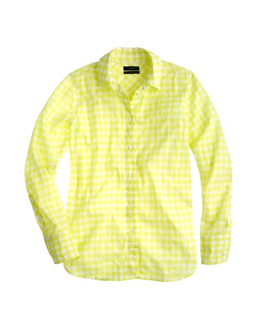 J.Crew | Yellow Boy Shirt In Crinkle Gingham | Lyst