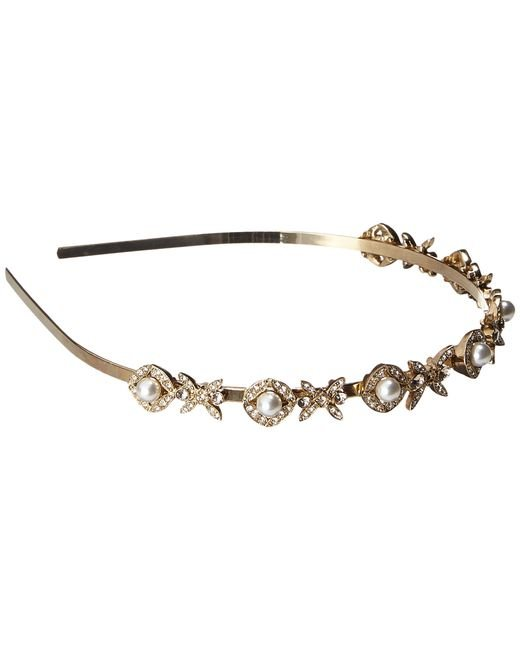 Oscar de la Renta | Metallic Lattice Pearl Headband | Lyst
