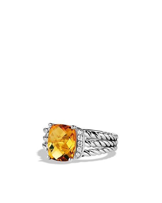 David Yurman | Metallic Petite Wheaton Ring With Citrine And Diamonds | Lyst