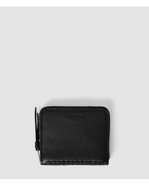 AllSaints | Black Club Leather Coin Purse | Lyst