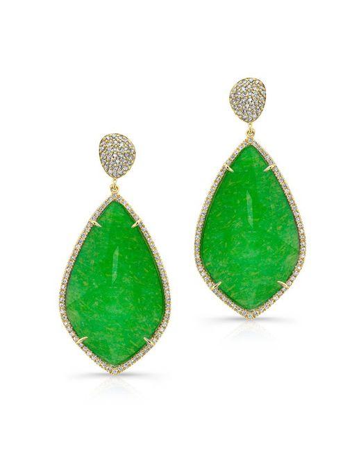 Anne Sisteron | Green 14kt Yellow Gold Jade Diamond Leaf Shape Earrings | Lyst